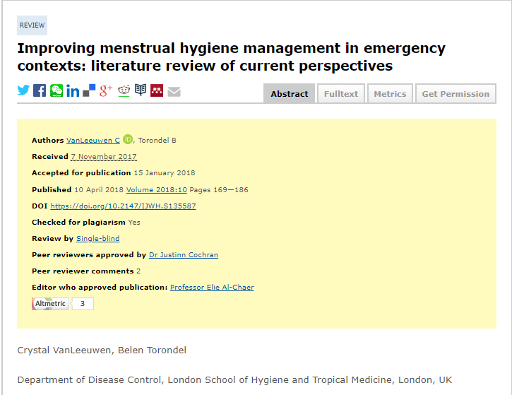 Improving menstrual hygiene management in emergency contexts: literature review of current perspectives