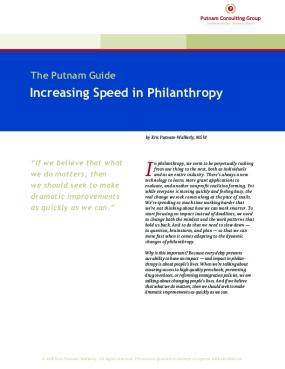 Increasing Speed in Philanthropy