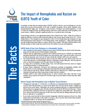 The Impact of Homophobia and Racism on GLBTQ Youth of Color