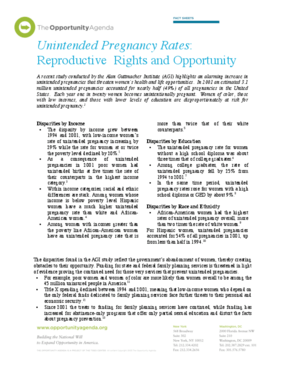 Unintended Pregnancy Rates: Reproductive Rights and Opportunity