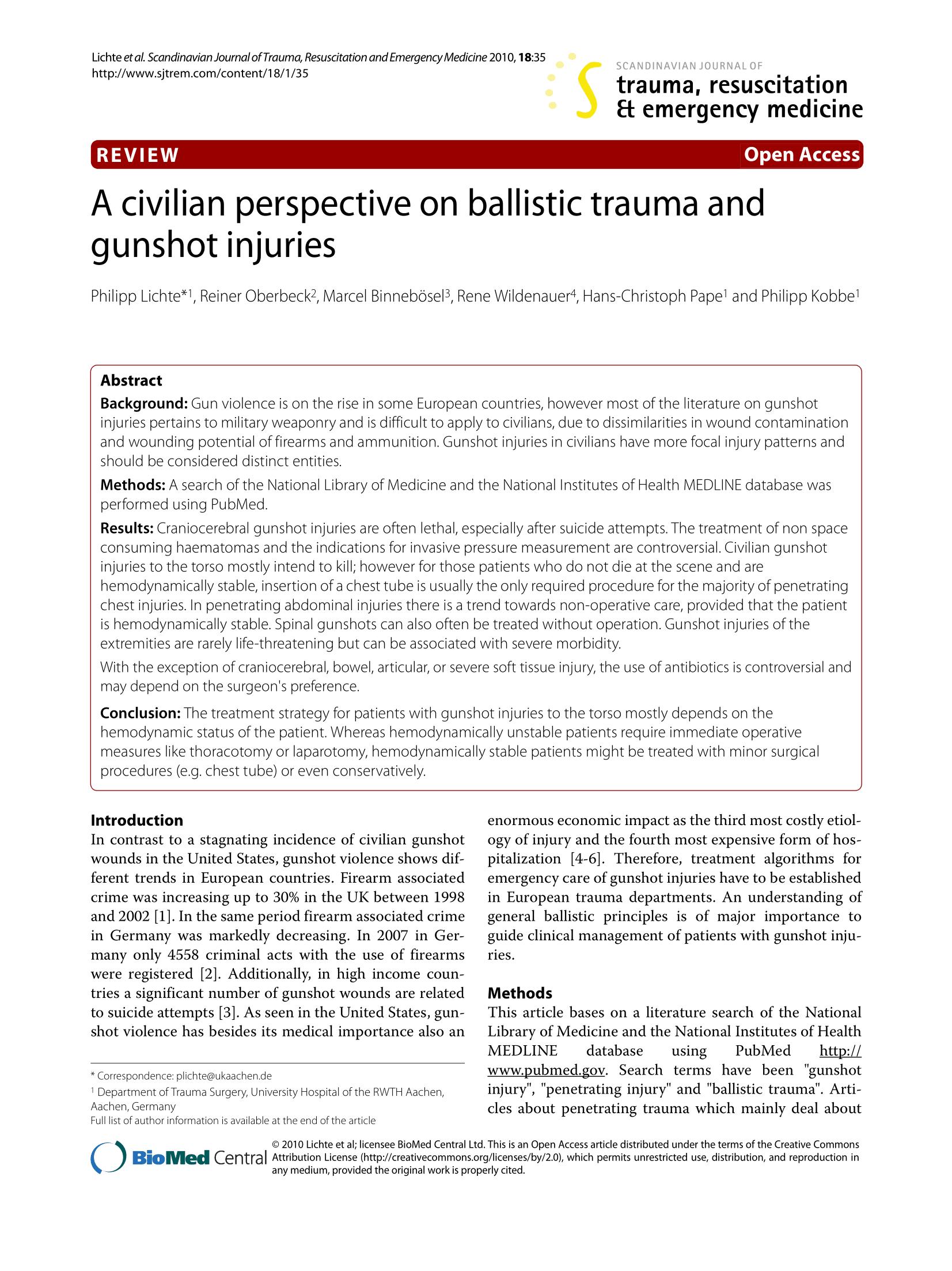 A Civilian Perspective on Ballistic Trauma and Gunshot Injuries