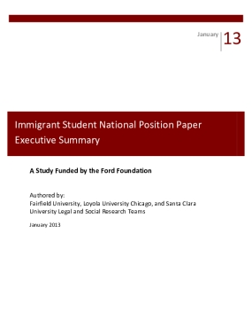 Immigrant Student National Position Paper: Executive Summary