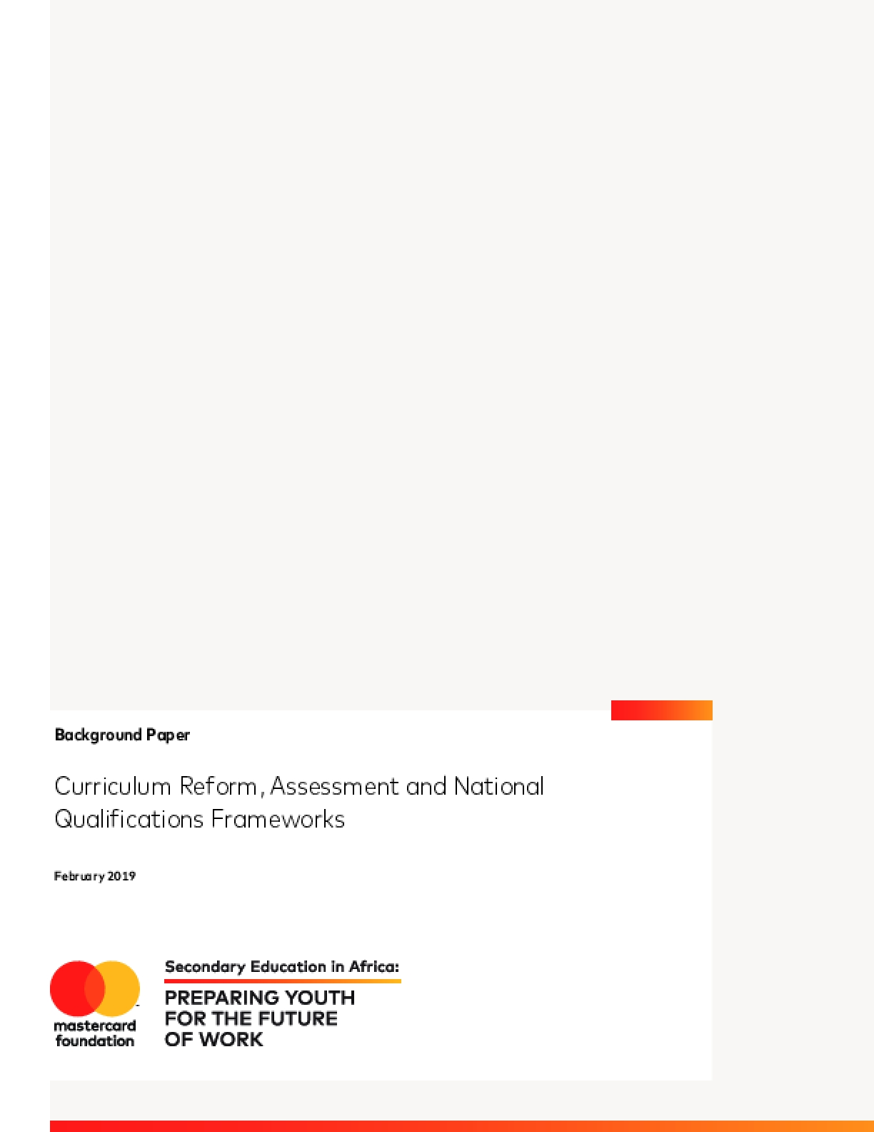 Curriculum Reform, Assessment and National Qualifications Frameworks