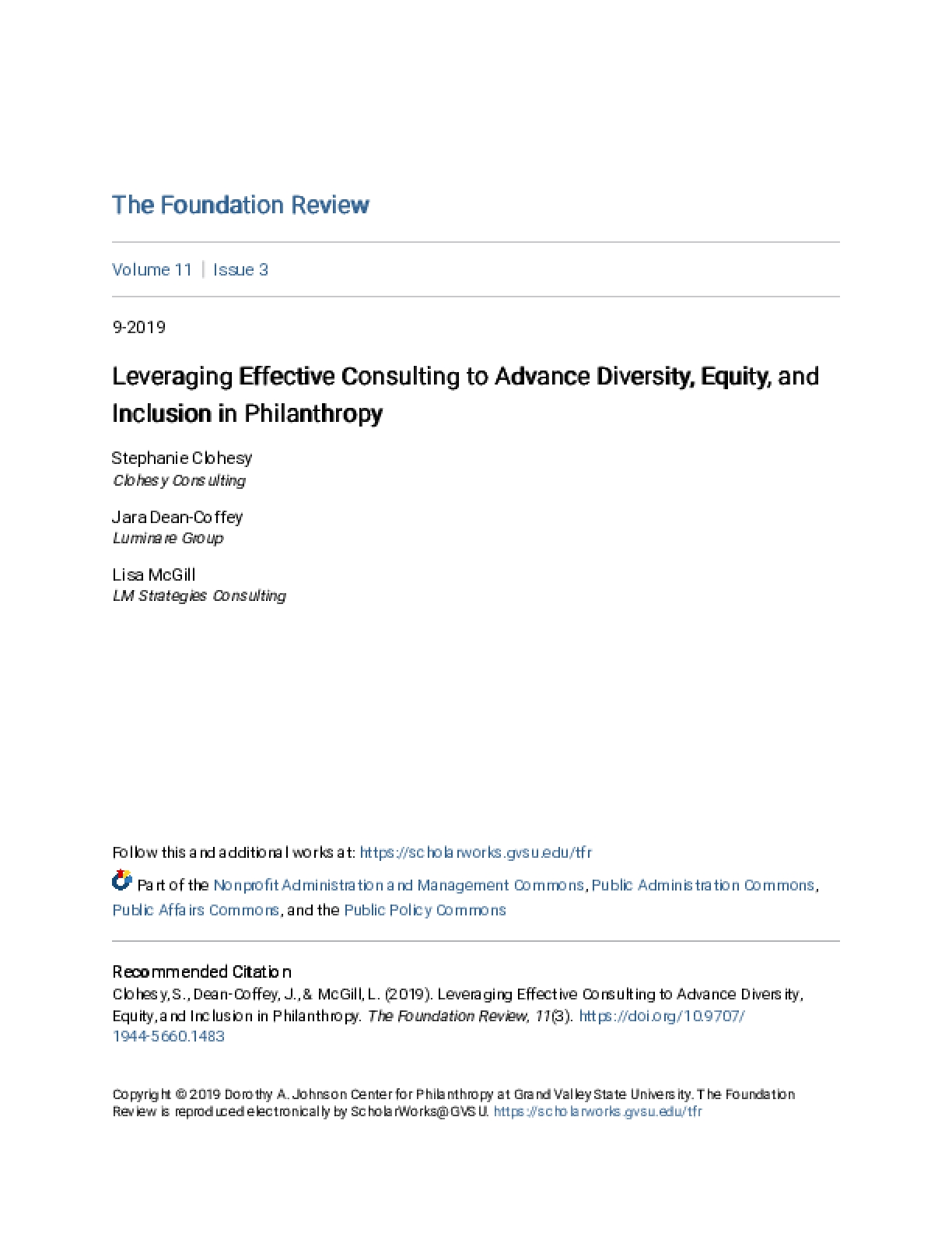 Leveraging Effective Consulting to Advance Diversity, Equity, and Inclusion in Philanthropy