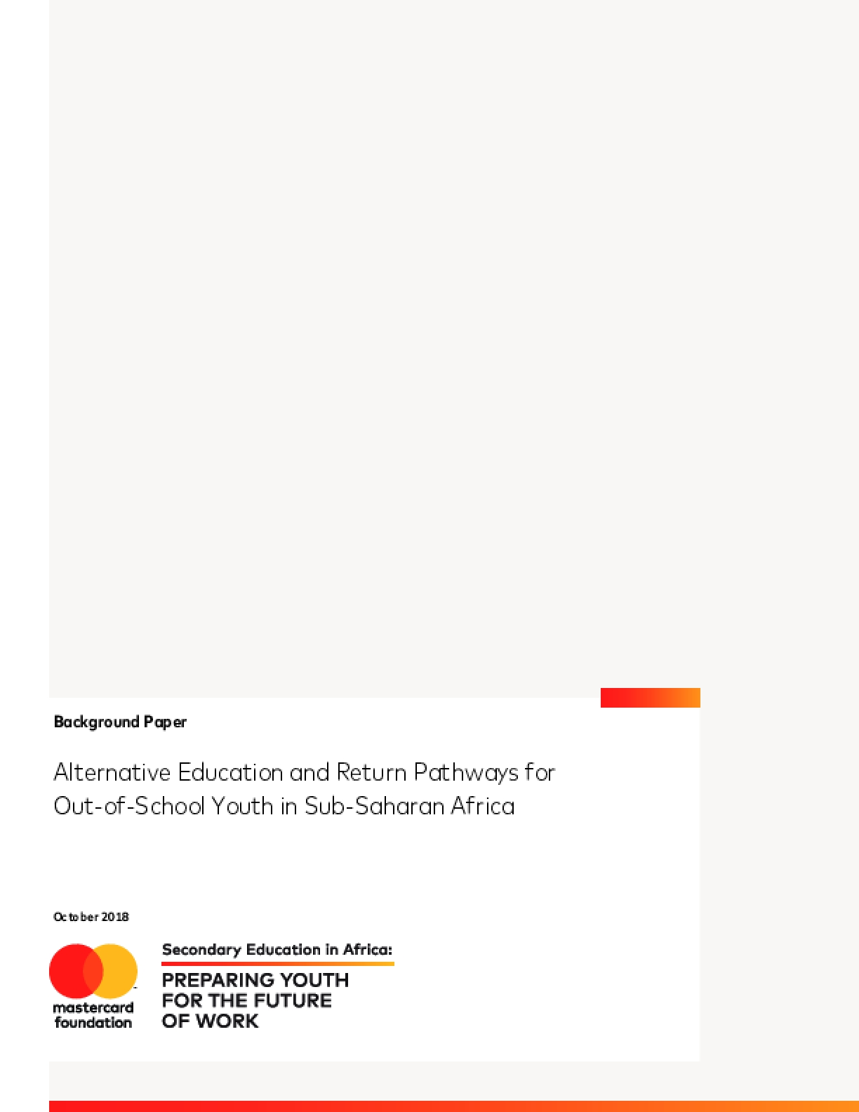 Alternative Education and Return Pathways for Out-of-School Youth in Sub-Saharan Africa