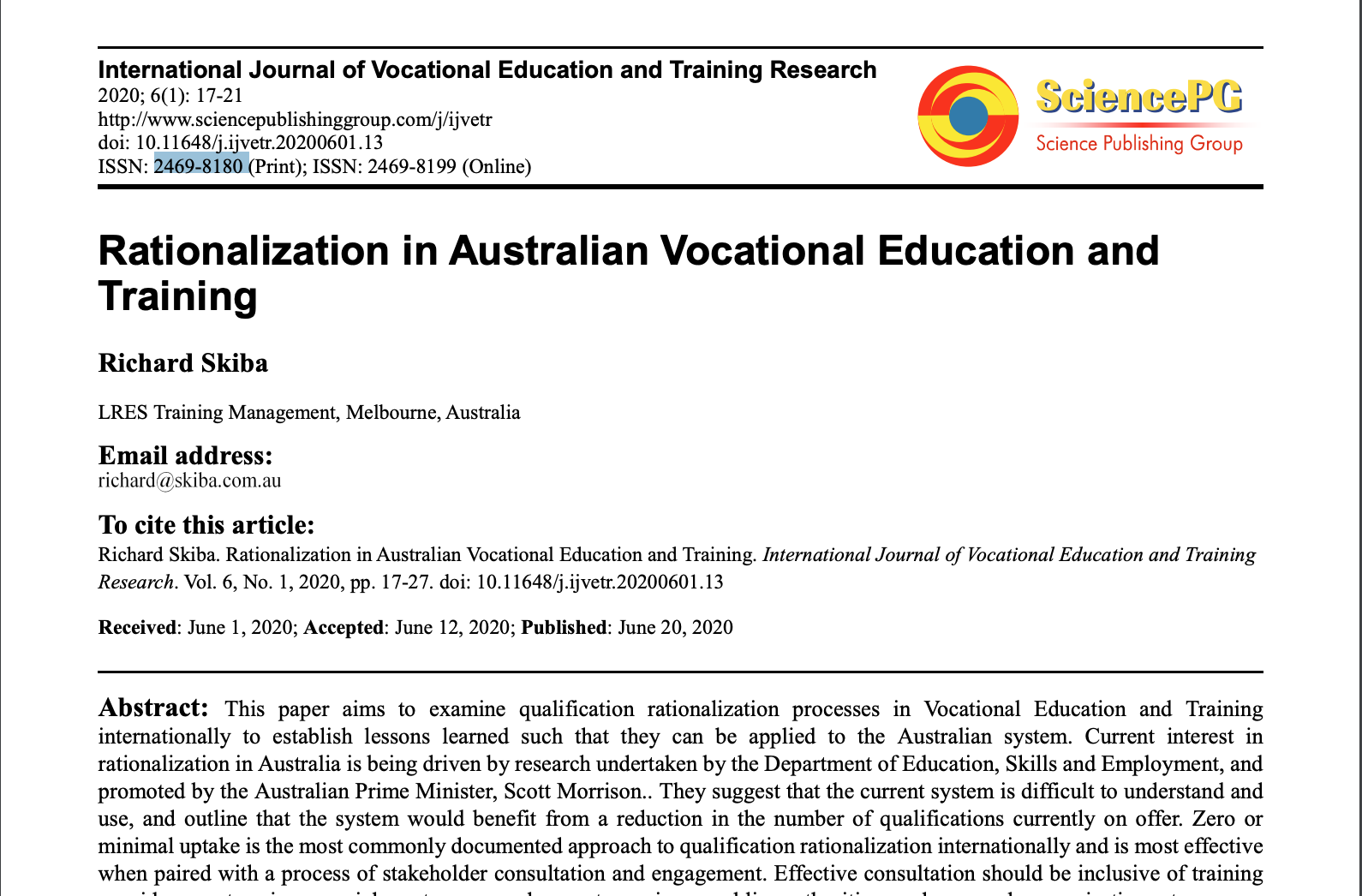 Rationalization in Australian Vocational Education and Training