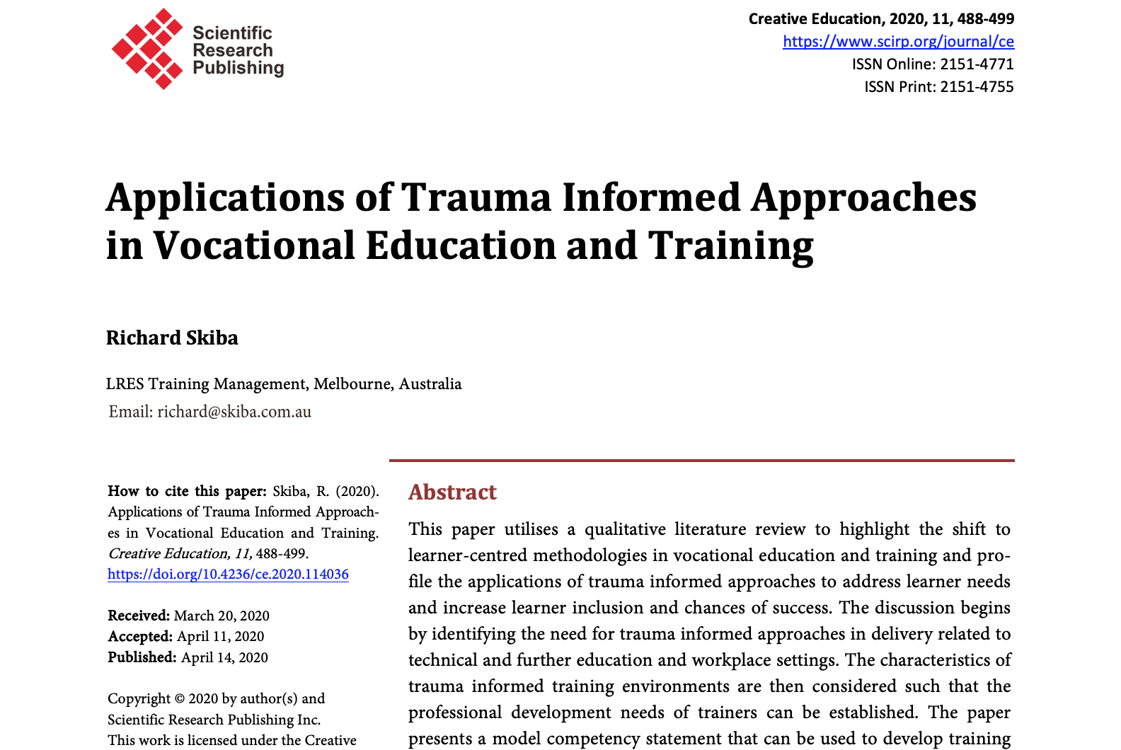 Applications of Trauma Informed Approaches in Vocational Education and Training