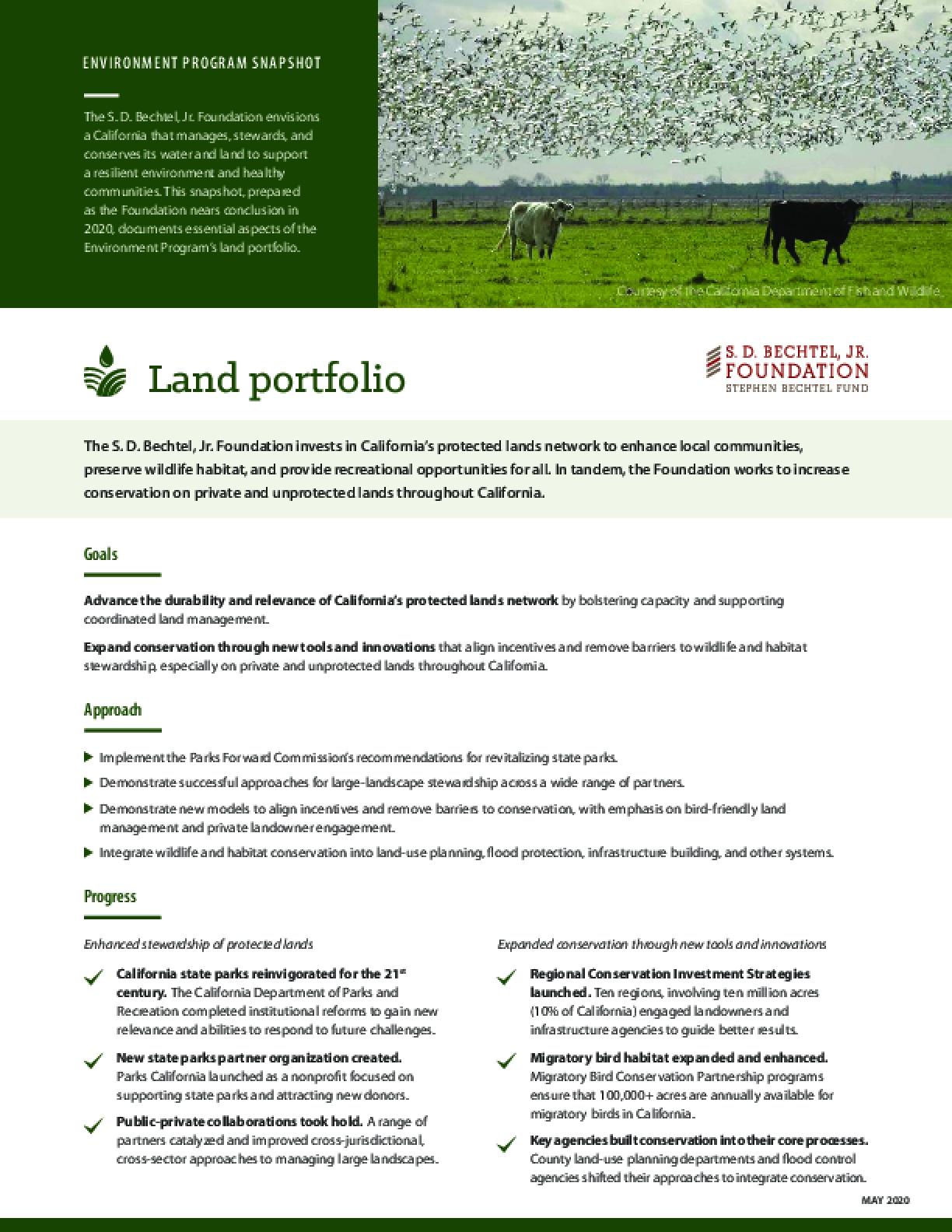 Environment Program Snapshot: Land Portfolio