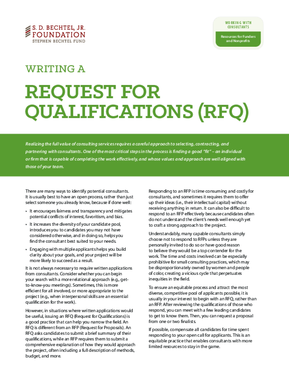 Writing a Request for Qualifications (RFQ)